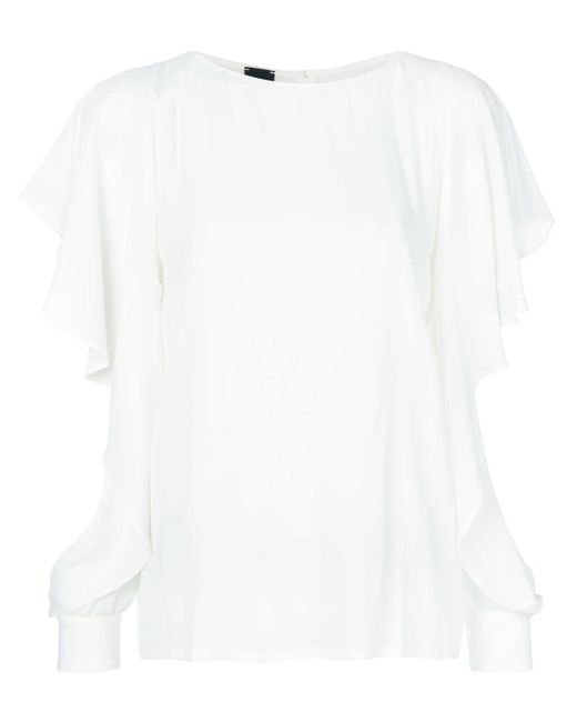Pinko Slit Frill Trim Sleeves Blouse White