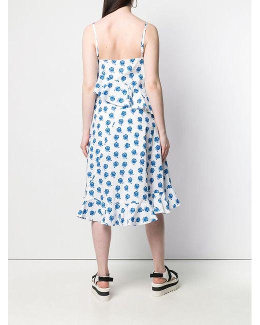KENZO ローズプリント ラッフル ドレス White