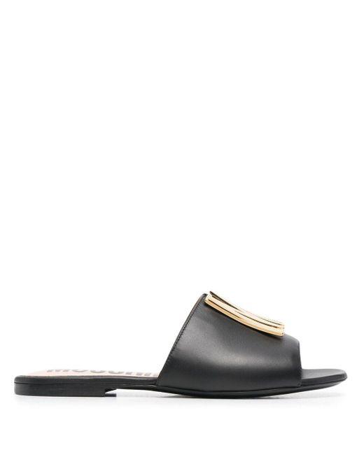 Moschino Black M Logo Plaque Sandals