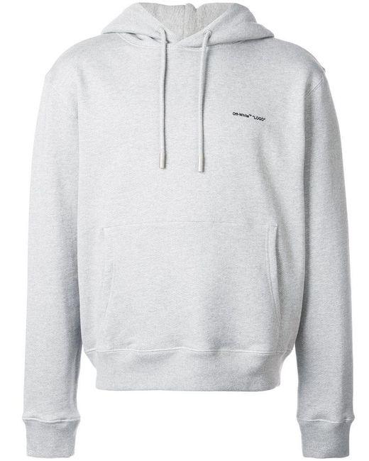 db8525fe9ea0 Lyst - Off-White C O Virgil Abloh Logo Print Hoodie in Gray for Men