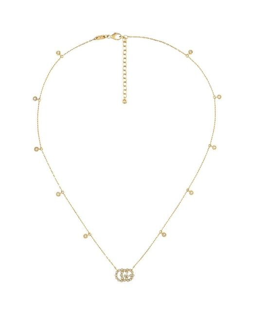 Gucci グッチダイヤモンド付き ダブルg ネックレス Metallic