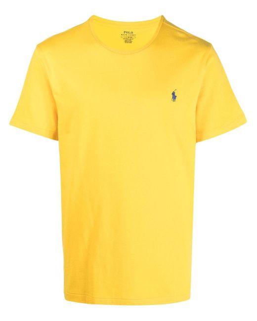 Polo Ralph Lauren Yellow Embroidered-logo Cotton T-shirt for men