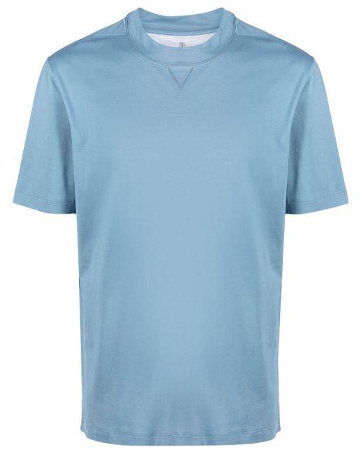 T-shirt a girocollo di Brunello Cucinelli in Blue da Uomo