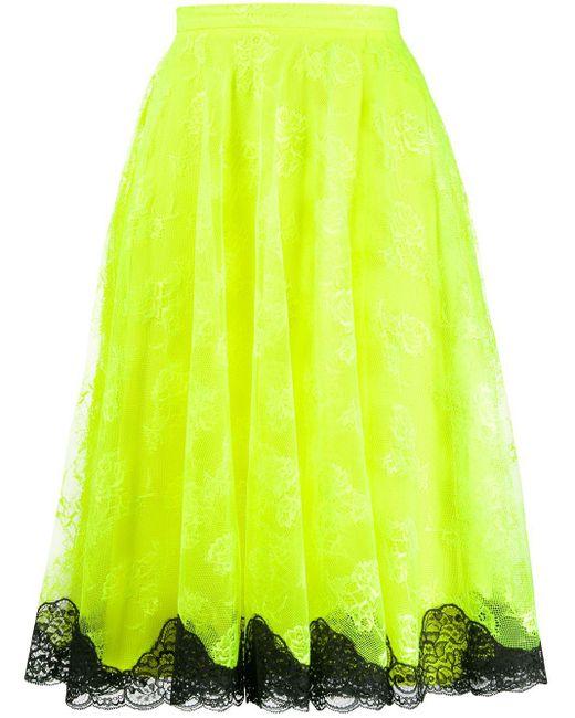 Кружевная Юбка Миди Christopher Kane, цвет: Yellow