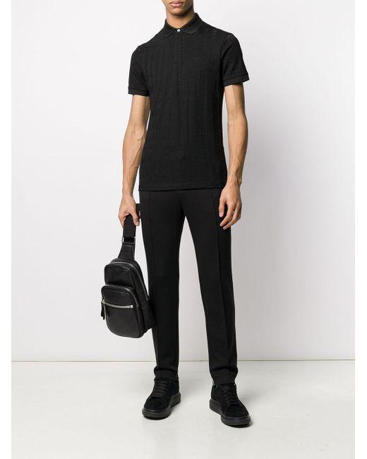 メンズ Emporio Armani エンボスロゴ ポロシャツ Black