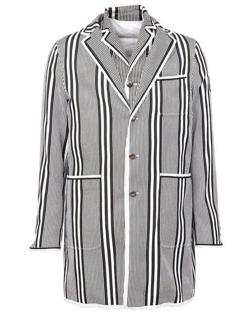 Moncler - Blue Striped Short Coat for Men - Lyst