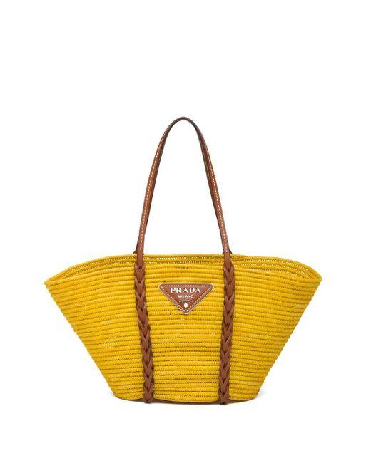 Prada ストローハンドバッグ Yellow