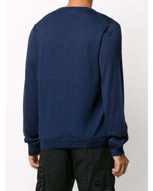 メンズ Versace グレカ プルオーバー Blue