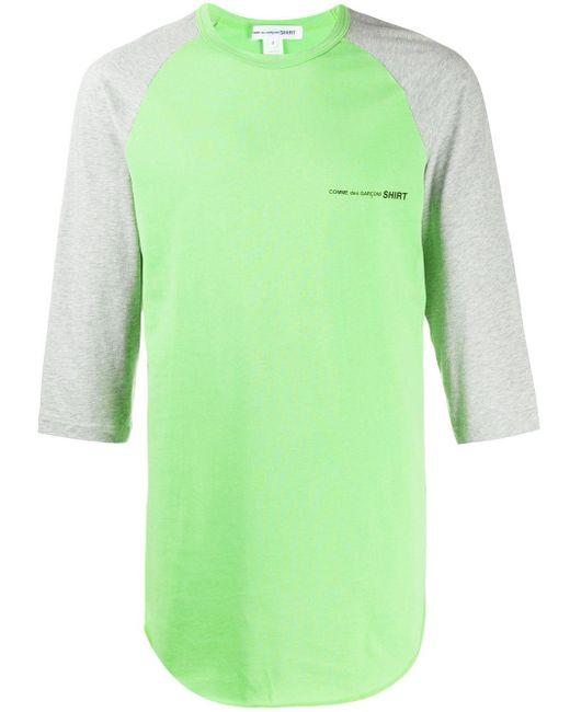 メンズ Comme des Garçons ロゴ ロングtシャツ Green