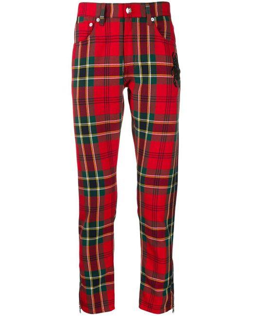 メンズ Alexander McQueen チェックパンツ Red