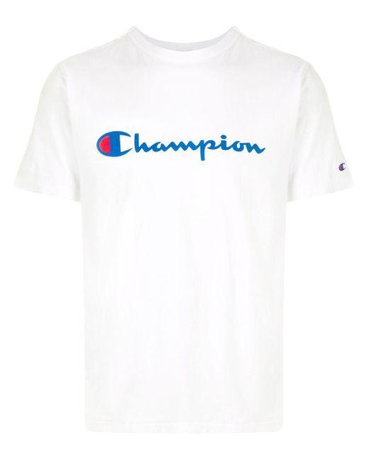メンズ Champion ロゴ Tシャツ White