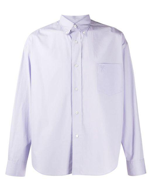 Рубашка С Вышитым Логотипом AMI для него, цвет: Blue