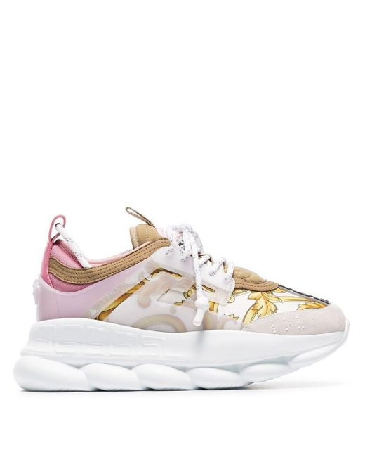 Versace White Multicoloured Chain Reaction Baroque Leather And Fabric Sneakers