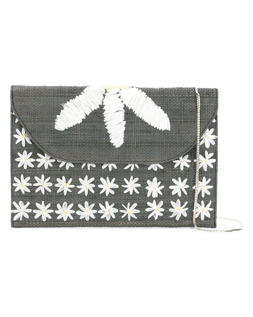 Serpui   Gray Daisy Embroidered Shoulder Bag   Lyst