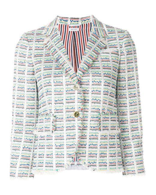 Thom Browne - Multicolor Checkered Tweed Jacket - Lyst