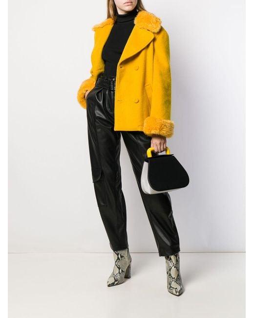 Moschino Gelb Doppelreihige Jacke Lyst Cropped In Wolle vmwN80nO