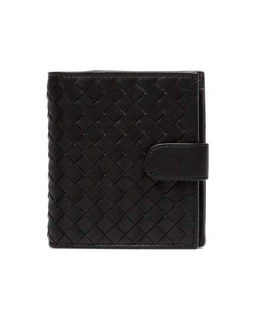 Bottega Veneta - Black Intrecciato Leather Wallet - Lyst