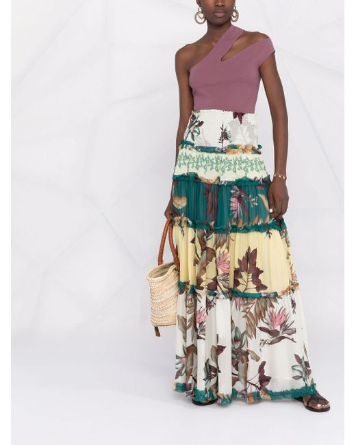 Pinko Multicolor Floral Ruffled Maxi Skirt