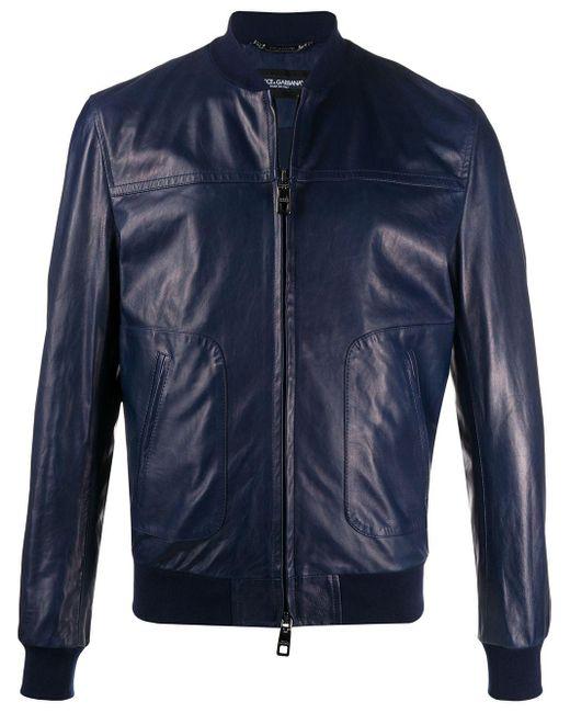 メンズ Dolce & Gabbana レザー ボンバージャケット Blue