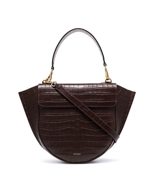 Wandler Brown Hortensia Medium Mock Croc Leather Shoulder Bag