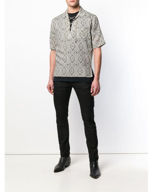 メンズ Saint Laurent プリント Tシャツ Gray
