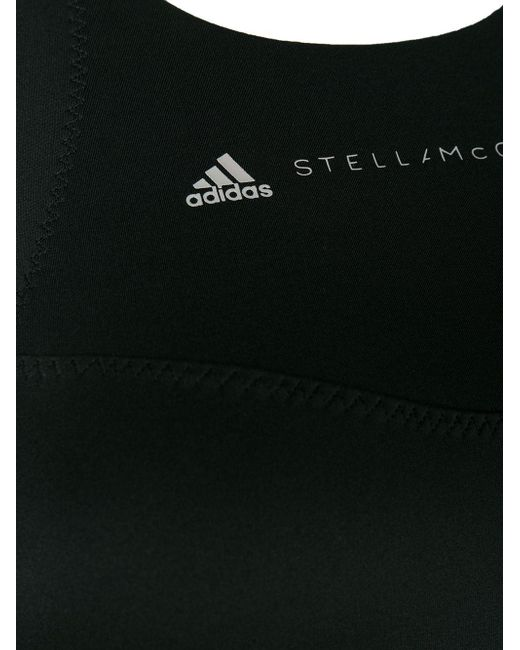 Adidas By Stella McCartney Black Essentials Sport-bh Aus Climalite®-stretch-material Mit Mesh-einsatz