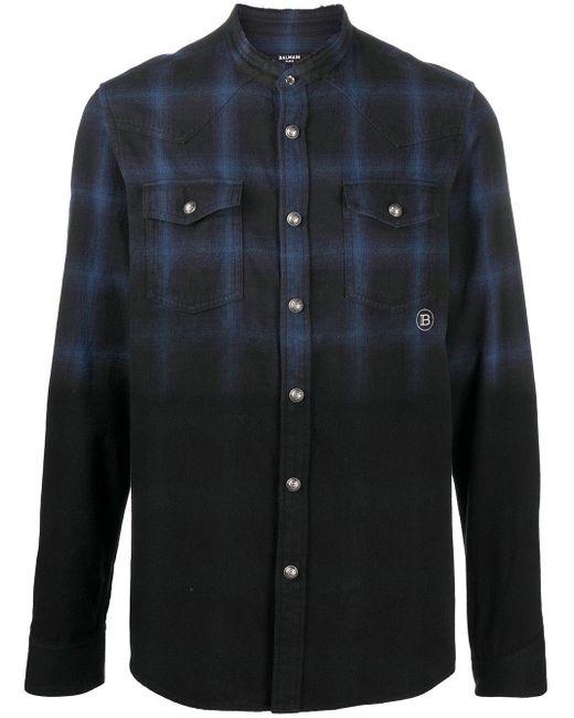 Рубашка В Клетку Balmain для него, цвет: Black