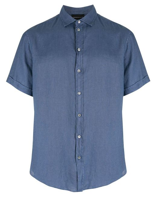 メンズ Emporio Armani リネン ショートスリーブシャツ Blue