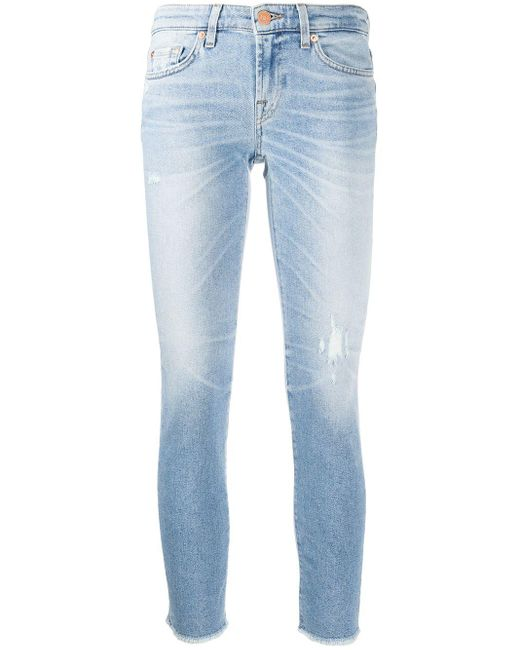 7 For All Mankind ローライズ スキニージーンズ Blue