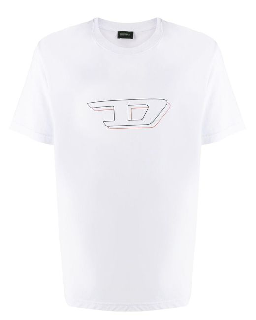 メンズ DIESEL 3d ロゴプリント Tシャツ White
