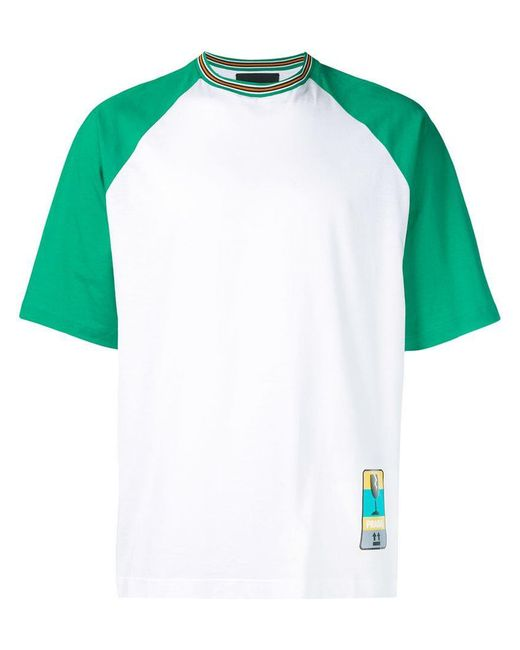 Prada - White T-Shirt mit Roller-Print for Men - Lyst