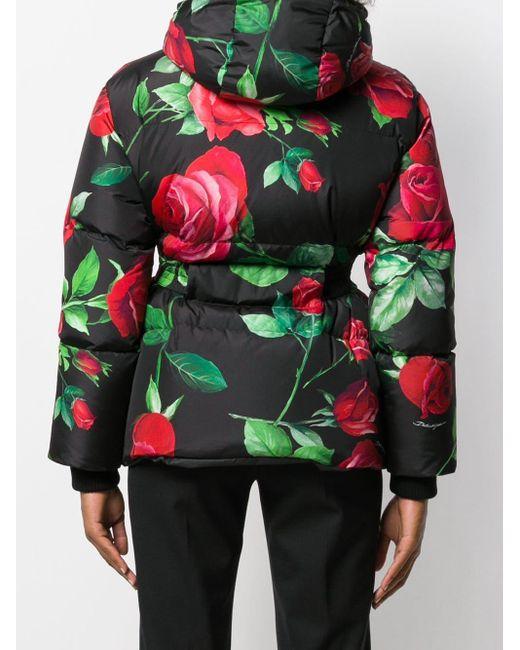 Doudoune à fleurs et capuche Dolce & Gabbana en coloris Black