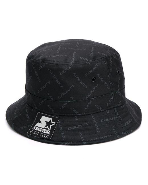 メンズ Marcelo Burlon ロゴ バケットハット Black