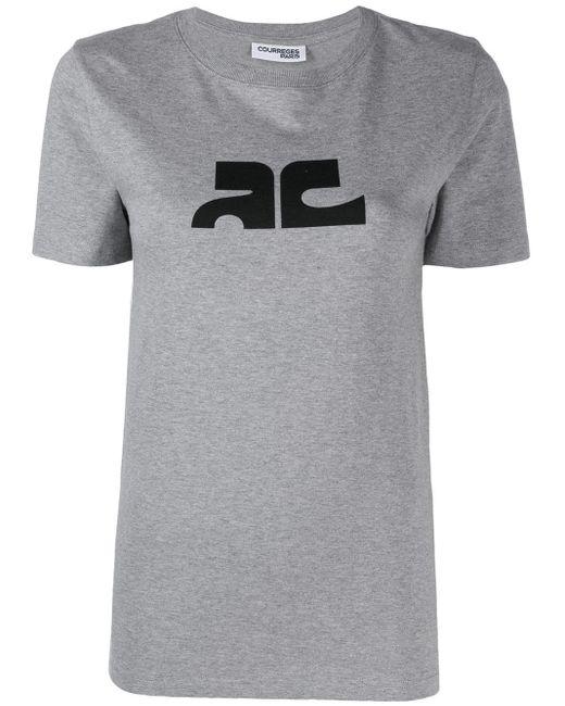 Courreges コントラストロゴ Tシャツ Gray