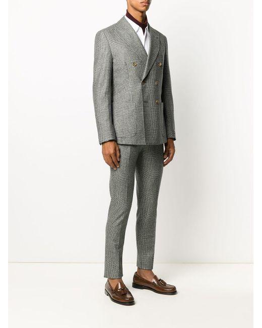 メンズ Eleventy チェック スーツ Gray