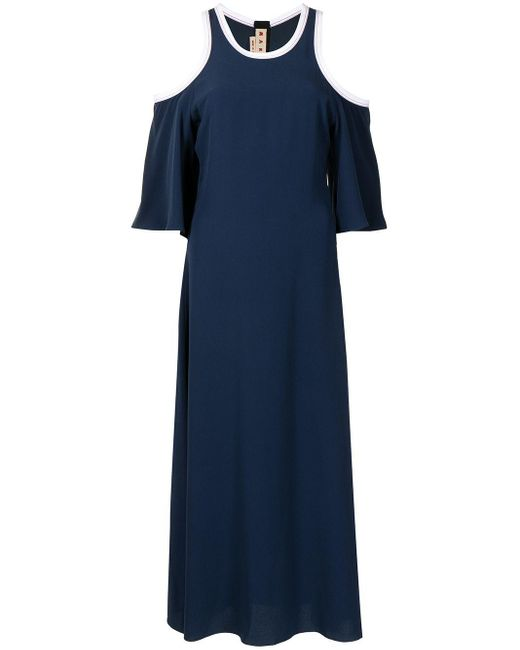 Marni オープンショルダー ドレス Blue