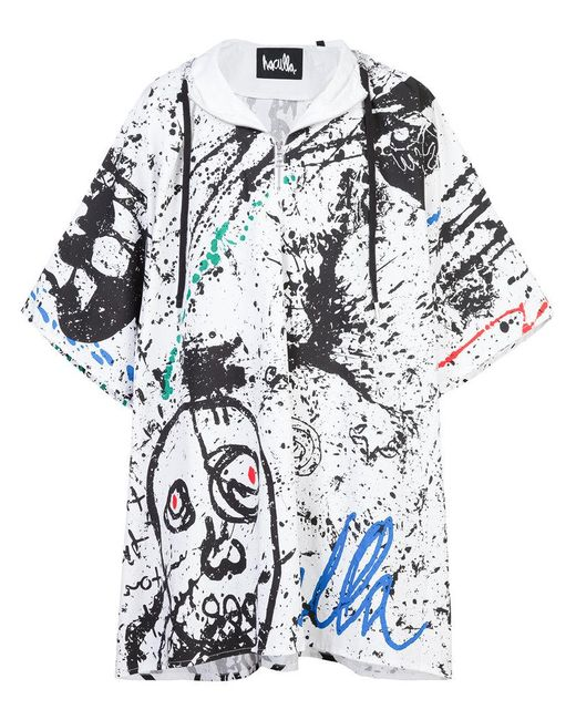 Haculla - White Paint Canvas Poncho Coat for Men - Lyst