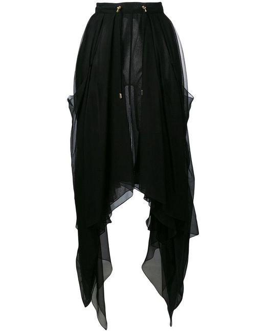 Balmain - Black Asymmetric Sheer Skirt - Lyst
