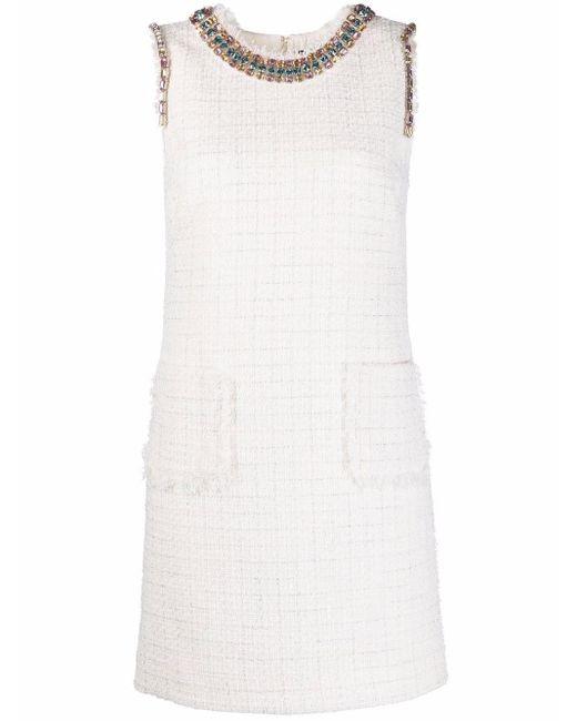 Blumarine ビーズ ツイードドレス White