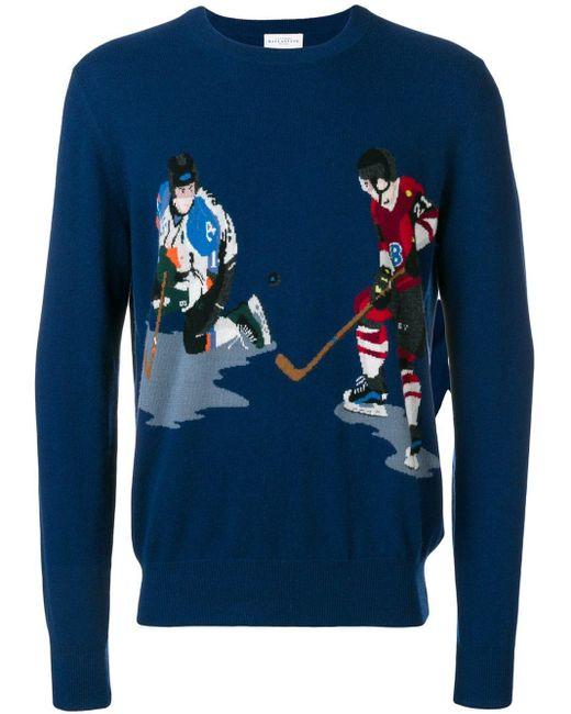 Ballantyne Blue Ice Hockey Intarsia Knit Sweater for men
