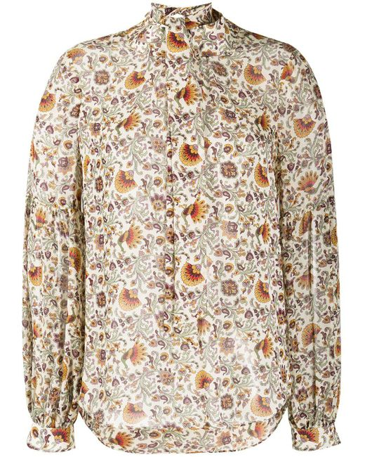 Veronica Beard Multicolor Floral-print Pussy-bow Blouse