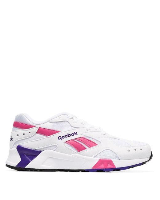 Reebok White Aztrek Faux Leather Low Top Sneakers for men
