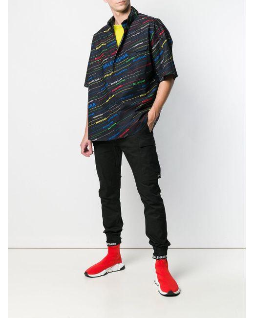 Chemise matelassée oversize à imprimé logo Balenciaga pour homme en coloris Blue