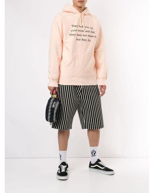 メンズ Supreme スローガン パーカー Pink