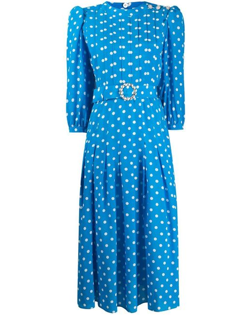 Alessandra Rich ポルカドット ベルテッドドレス Blue