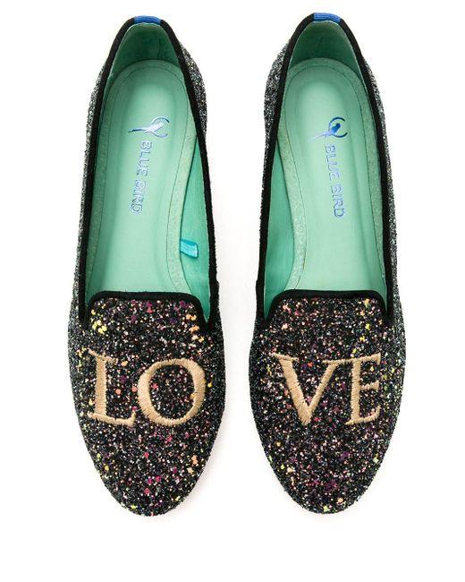 Blue Bird Shoes Love グリッター ローファー Green