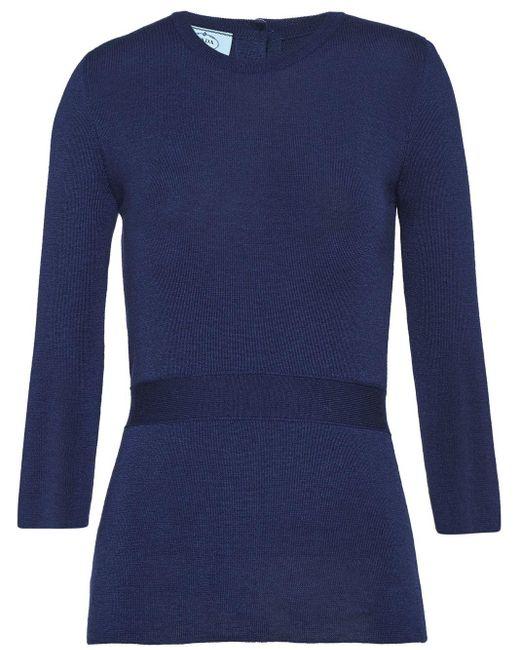 Prada Blue Pullover mit Knöpfen