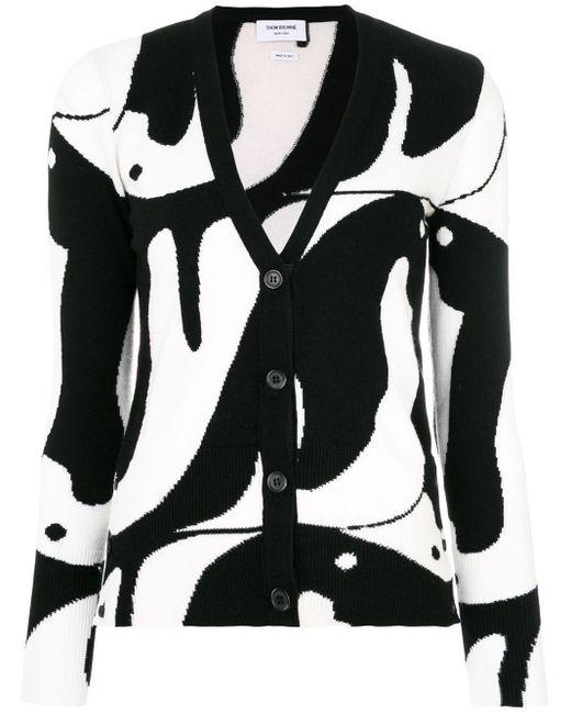 Thom Browne Black Penguin Intarsia Cardigan