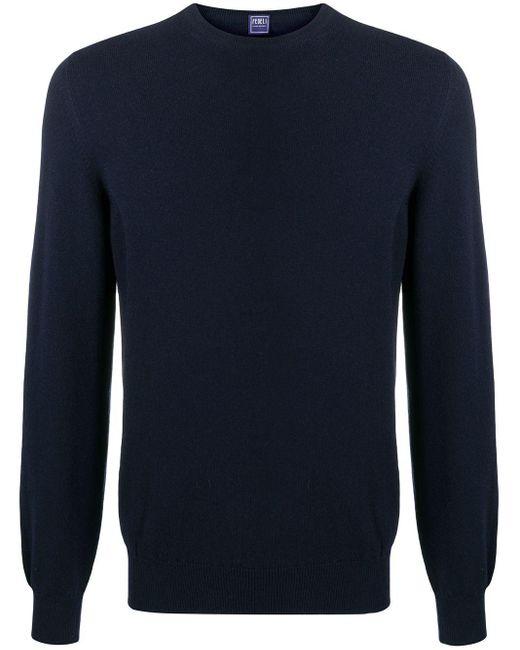 Jersey con cuello redondo Fedeli de hombre de color Blue