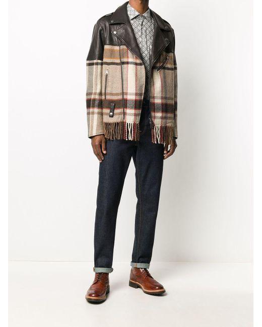 Байкерская Куртка С Клетчатой Вставкой Etro для него, цвет: Brown